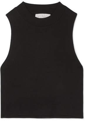 calé - Bridgette Cropped Stretch-modal Jersey Tank - Black