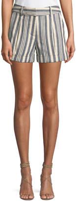 Veronica Beard Carito Striped Linen Cuffed Shorts