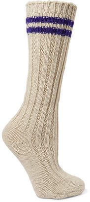 The Elder Statesman Yosemite Striped Ribbed Cashmere Socks - White