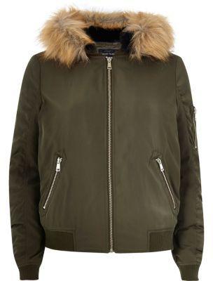 River IslandRiver Island Womens Khaki faux fur hooded bomber jacket