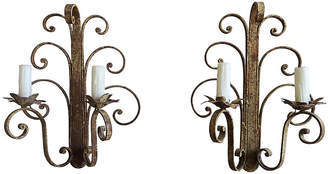 One Kings Lane Vintage Pair of Wrought Iron Sconces