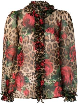 Dolce & Gabbana mixed-print ruffled blouse