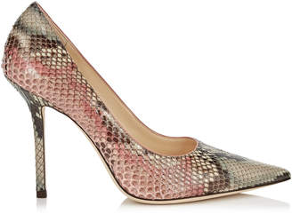 Jimmy Choo LOVE 100 Rosewood Painted Desert Python Pointy Toe Pumps