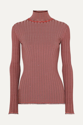 Victoria Beckham Victoria, Striped Ribbed-knit Turtleneck Sweater - Red