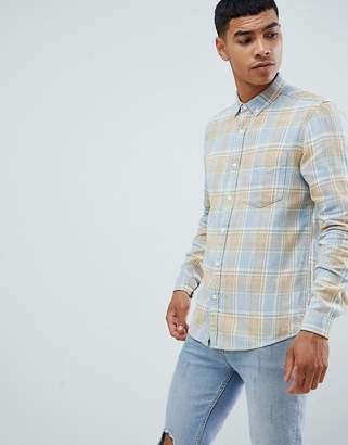 Asos DESIGN regular fit check shirt in blue snow wash