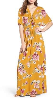 Love, Fire Kimono Sleeve Maxi Dress