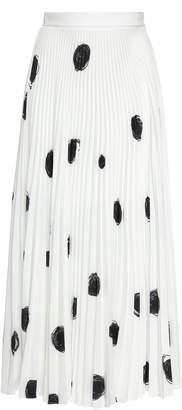 Christopher Kane Polka-Dot Pleated Crepe Midi Skirt