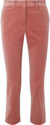 Frame Cropped Perfect Cotton-blend Velvet Slim-leg Pants - Antique rose
