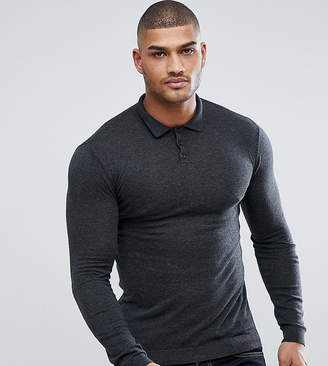 Asos DESIGN TALL Muscle Fit Knitted Polo in Gray