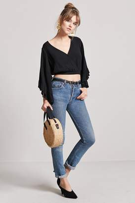 Forever 21 Flare Sleeve Surplice Top