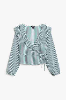 Monki Ruffle wrap blouse