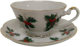 One Kings Lane Vintage Hand-Painted Lefton China Holly Teacup
