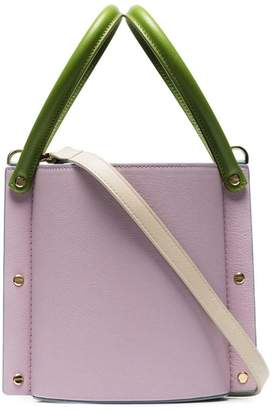 4f9e68dce9 Yuzefi lilac and powder blue Cubo two-tone contrast handle leather bucket  bag
