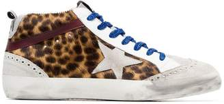 Golden Goose multicoloured Mid Star leopard print leather ponyskin sneakers