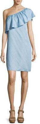 7 For All Mankind One-Shoulder Chambray Dress, Blue $199 thestylecure.com