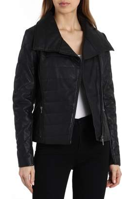 Badgley Mischka Collection Envelope Collar Quilted Leather Biker Jacket