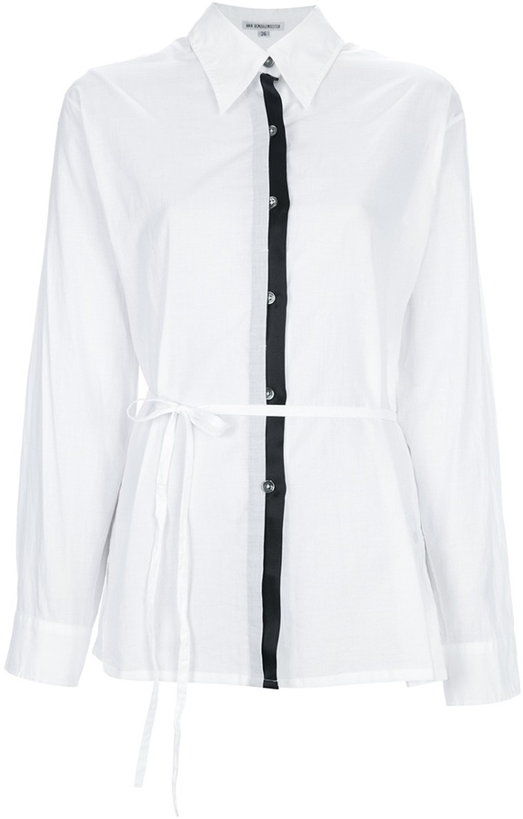 Ann Demeulemeester Blanche loose fit belted shirt