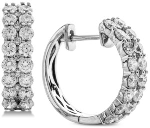 Macy's Diamond Double Row Hoop Earrings (2 ct. t.w.) in 14k White Gold