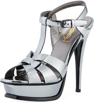 Saint Laurent Tribute Metallic Patent 135mm Platform Sandal