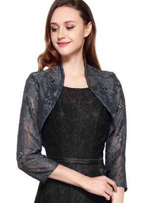 Chic Queen Women's Long Sleeve Floral Lace Shrug Bolero Cardigan(L/)