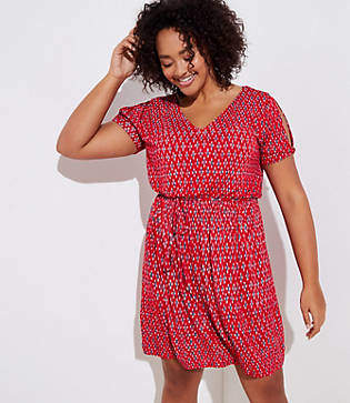 LOFT Plus Ikat Tie Waist Flare Dress