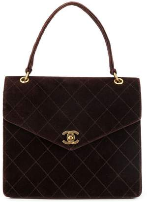 Chanel Pre-Owned velvet diamond quilted tote