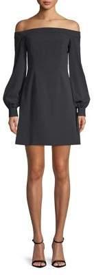 Jill Stuart Off-Shoulder Bishop-Sleeve A-Line Dress
