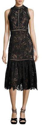 Rebecca Taylor Arella Sleeveless Lace Midi Dress, Black $875 thestylecure.com