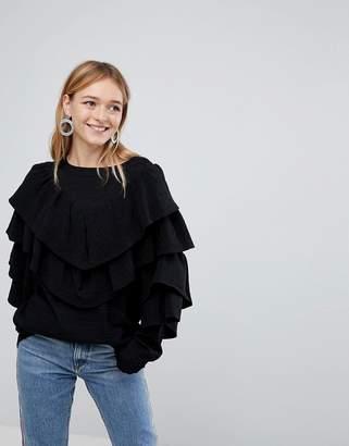 Monki Sparkle Ruffle Sweater
