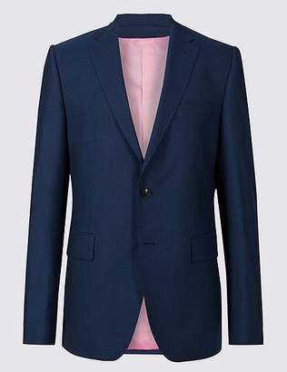 Marks and Spencer Blue Striped Tailored Fit Wool Jacket