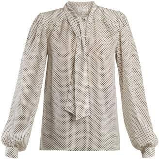 Maison Margiela Polka dot-print padded-shoulder silk blouse