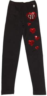 Philipp Plein Junior Heart Sequin Jersey Leggings