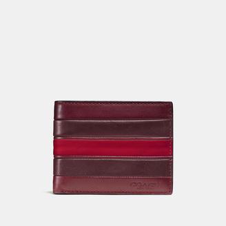 COACH Coach Modern Varsity Stripe Slim Billfold Wallet In Smooth Leather $150 thestylecure.com