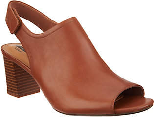 Clarks Leather Stacked Heel Peep Toe Sandals -Deva Jayleen