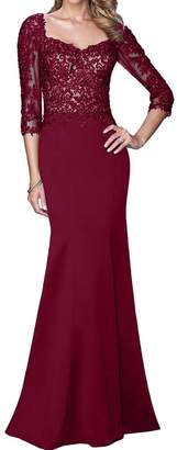 Sunvary 2017 Floor Length Prom Bridesmaids Evening Dress 3/4 Sleeves Applique Size