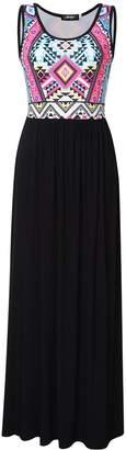 Liebeye Women Sleeveless Printed Empire Waist Casual Tank Maxi Dress XL