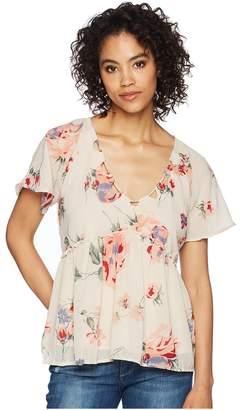 Lucky Brand Floral Flutter Top Women's Short Sleeve Pullover