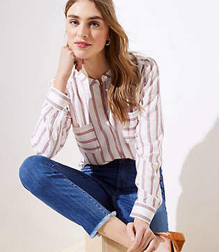 LOFT Petite Striped Crossover Back Utility Blouse
