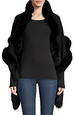 Sofia Cashmere Women's Sequin Fox Fur-Trim Cashmere & Silk Shawl