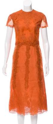 Valentino Lace-Accented Silk Dress w/ Tags