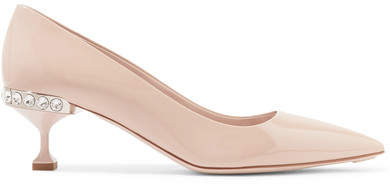 Miu Miu - Crystal-embellished Patent-leather Pumps - Neutral