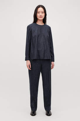Cos BOUCLE-PINSTRIPED WOOL BLOUSE