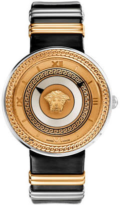 Versace V-Metal Icon Analog Black Leather Strap Watch