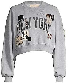 Riley Women's East West Faux-Fur Patch Crewneck Sweater
