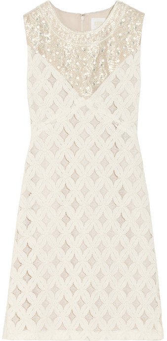Anna Sui Embellished cotton-blend lace dress