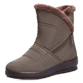 0153acaa2f8 GIY Women s Waterproof Snow Ankle Boots Winter Warm Fur Zipper Short Boots  Flat Casual Rain Snow