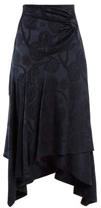 Peter Pilotto High Rise Fluted Satin Skirt - Womens - Navy Print