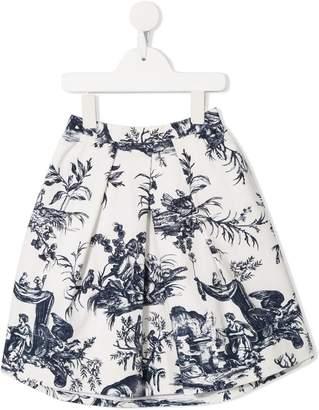 Oscar de la Renta Kids floral embroidered skirt
