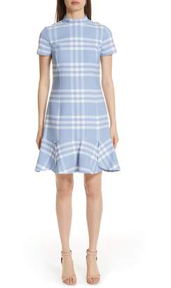 Oscar de la Renta Checkered Ruffle Hem Stretch Wool Dress