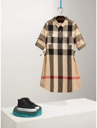 Burberry Check Cotton Shirt Dress , Size: 8Y, Beige